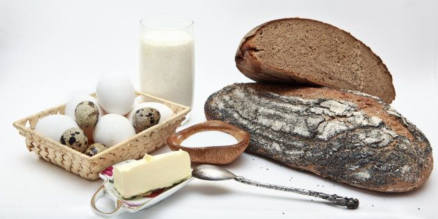 compisition of diary products - bread, milk, yogurt, eggs butter