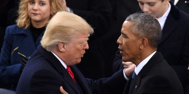 WASHINGTON, Jan. 20, 2017 : U.S. President Donald Trump(L, front) is greeted by former U.S. President...