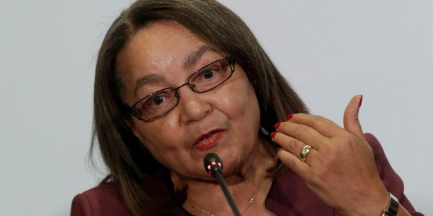Cape Town Mayor Patricia De Lille speaks to the media during a news conference at the C40 Mayors Summit...