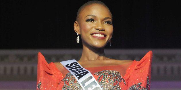 Miss Universe Sierra Leone, Hawa Kamara, during fashion show in Vigan, Philippines on January 15,