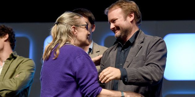 Carrie Fisher and Rian Johnson on stage during Future Directors Panel at the Star Wars Celebration 2016...
