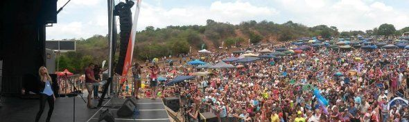 Popular Afrikaans singer Karlien van Jaarsveld at AfriForum's music festival at the Voortrekker Monument...
