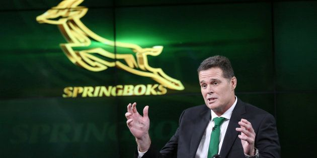 South Africa's rugby team new coach Rassie Erasmus gestures during a media briefing in Johannesburg,...