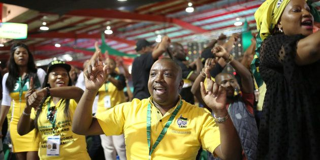 Delegates sing and chant slogans during the ANC's 54th National Conference at the Nasrec Expo Centre...