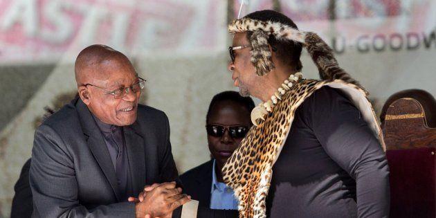 President Jacob Zuma (L) greets Zulu King Goodwill Zwelithini at the Moses Mabhida Football stadium to...