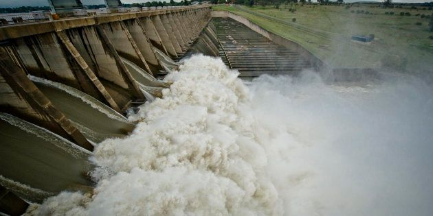 The Vaal Dam south of Johannesburg three years ago in March 2014, where rising water was a problem and...