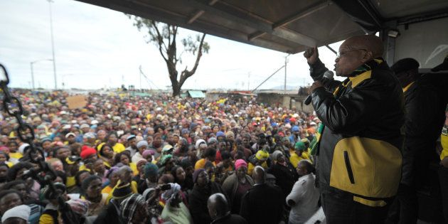 President Jacob Zuma addresses Phillipi residents during the ANC election campaign in July 2016 in Cape