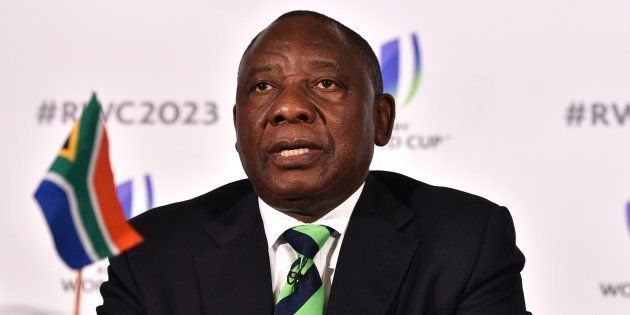 President Cyril Ramaphosa at a press conference after South Africa presented its bid to host the 2023...