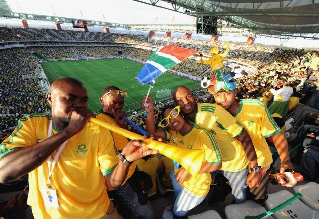 South African fans celebrate during the International Friendly match between South Africa and Thailand...