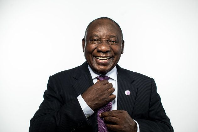 Cyril Ramaphosa, South Africa's president, poses for a photograph following a Bloomberg Television interview...