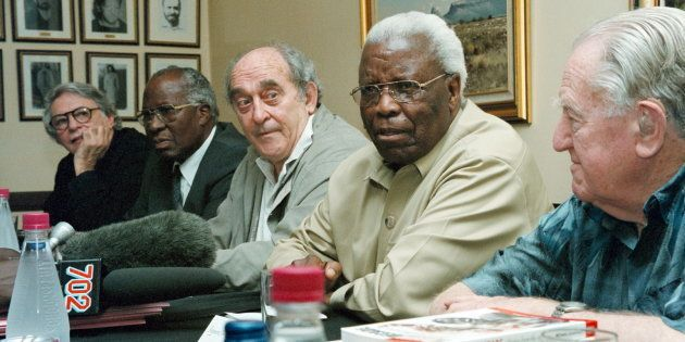 This file picture from December 16, 2001, shows a Rivonia Treason trialists reunion. From left are: advocate...