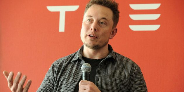 Founder and CEO of Tesla Motors Elon Musk speaks during a media tour of the Tesla Gigafactory, which...