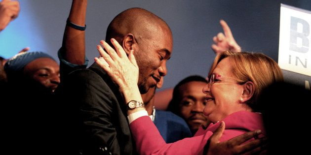 DA leader Mmusi Maimane with Helen Zille at the party'€™s federal conference on May 10, 2015 in Port...
