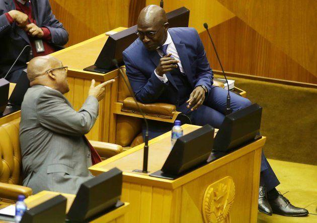 President Jacob Zuma shares a word with finance minister Malusi Gigaba during Gigabas Medium-term budget...