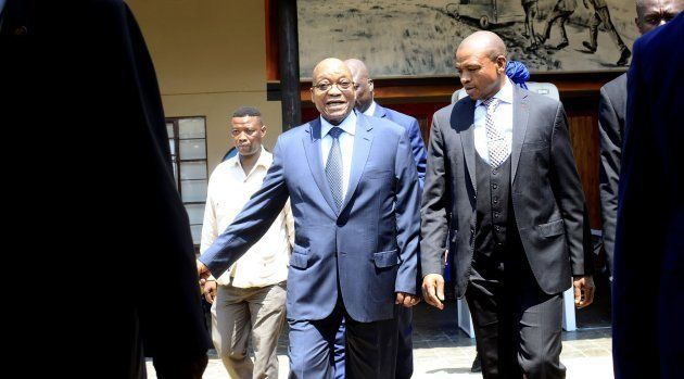 North West Premier Supra Mahumapelo and President Jacob Zuma during the unveiling of a monument dedicated...