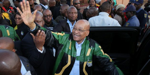 ANC leader Jacob Zuma greets supporters during his election campaign in Atteridgeville, South Africa...