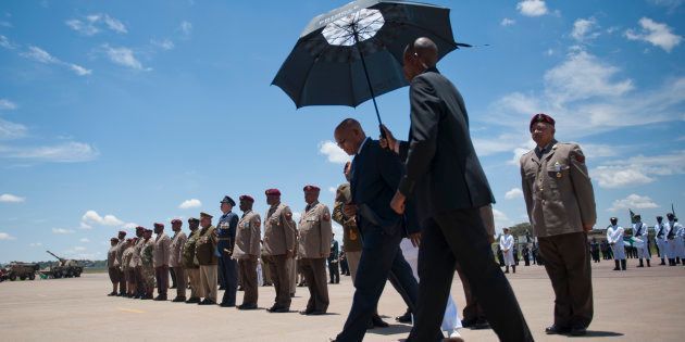 President Jacob Zuma during the Mandela Commemoration Medal Parade at the Waterkloof Airforce Base on...