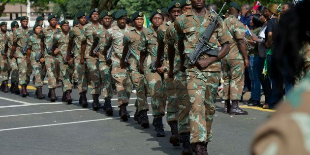 The SANDF during Nelson Mandela's procession to the Union Buildings on December 11, 2013 in