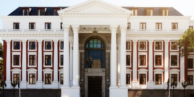 Façade of the South African parliament building which houses the National Assembly chamber in the Parliament...