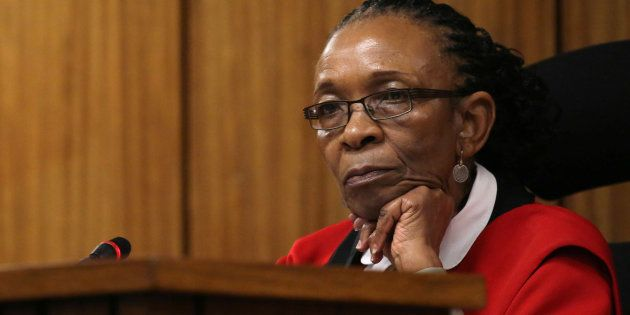 Judge Thokozile Masipa looks on during the resentencing hearing of Paralympic gold medalist Oscar Pistorius,...