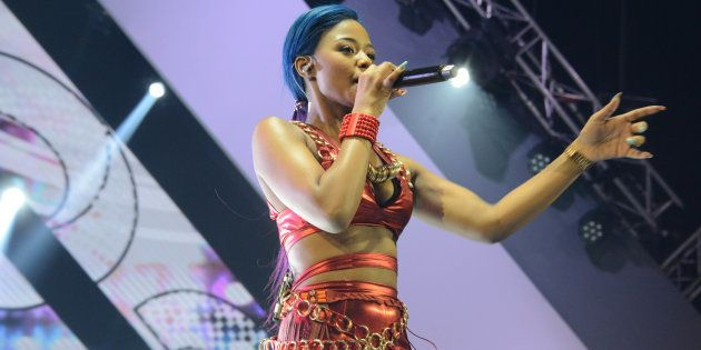 Babes Wodumo performs during the 23rd annual South African Music Awards (SAMA 23) at Sun City on May...