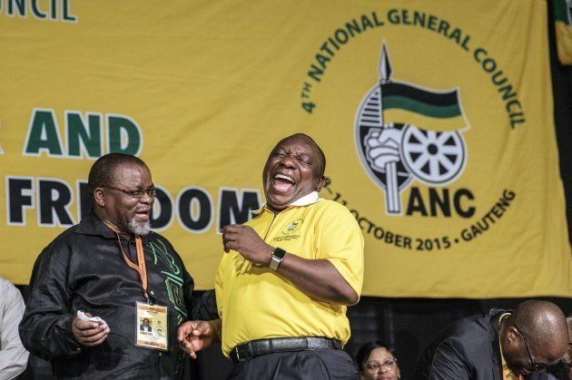 Deputy President of South Africa and ruling party ANC (African National Congress) Cyril Ramaphosa (R),...