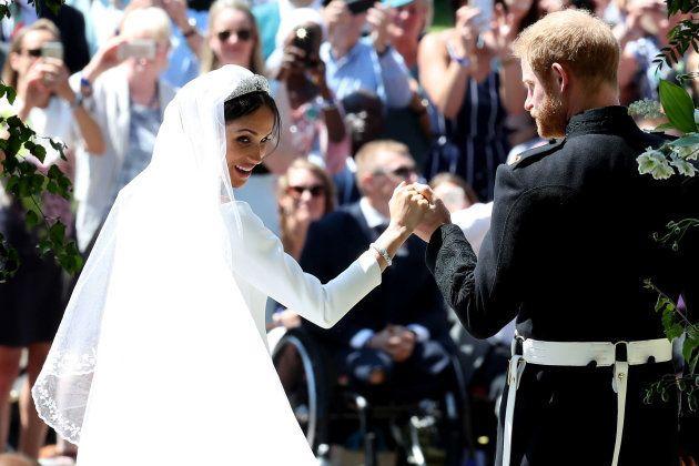 Prince Harry and Meghan Markle on their wedding
