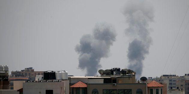 Smoke rises following an Israeli air strike in Gaza May 29,