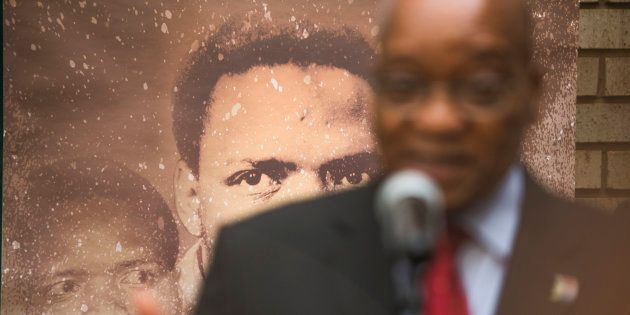 President Jacob Zuma during his visit the Kgosi Mampuru Correctional Centre to lay a wreath at the cell...