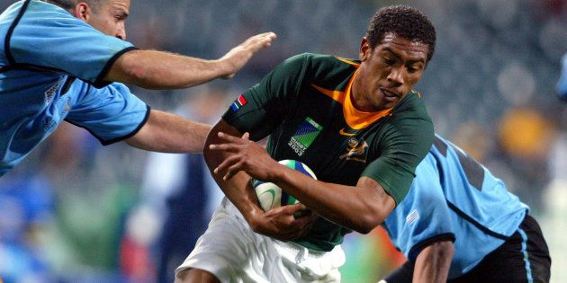 Ashwin Willemse in action against Uruguay in Perth, Australia during the 2003 Rugby World