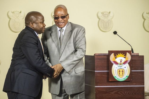 Des van Rooyen and President Jacob Zuma after Van Rooyen was sworn in as minister of finance on Thursday,...
