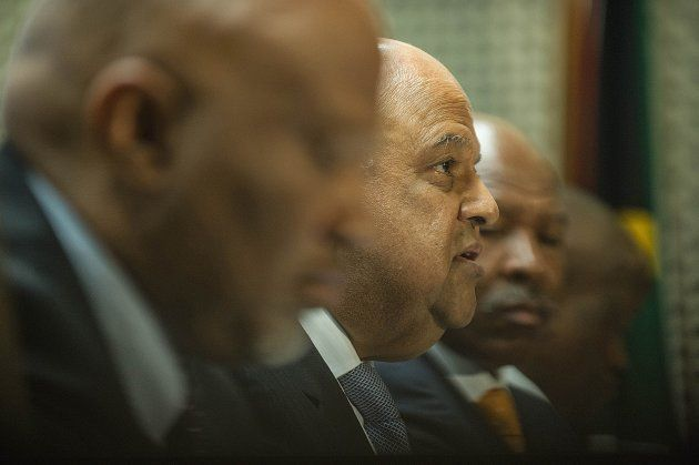 Newly Appointed South African Finance minister Pravin Gordhan gives a press conference, on December 14,...