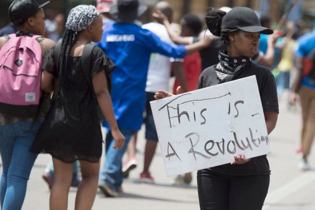 Tshwane University of Technology (TUT) march from the main campus to the CBD during #FeesMustFall protests...