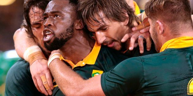 Siya Kolisi celebrates after scoring a try against France on June 17 2017, in