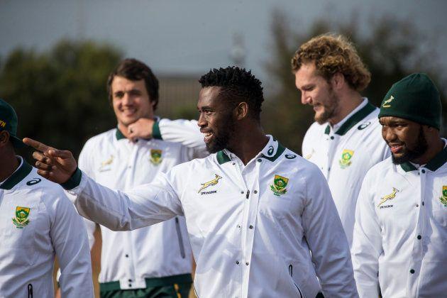 Springbok captain Siya Kolisi and team mates arrives at the Jabulani Technical High School for a rugby...