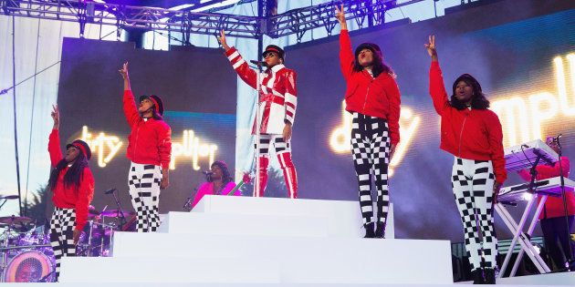 Janelle Monae performs during the 'Dirty Computer' tour at Marymoor Park on June 11 2018 in Redmond,