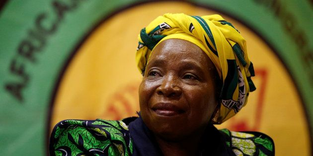 Former African Union chairperson Nkosazana Dlamini-Zuma reacts before addressing a lecture to members...