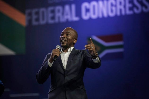 DA leader Mmusi Maimane, addresses the audience during the party's federal congress in Pretoria on April...