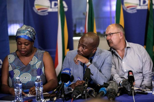 Mmusi Maimane with deputy chairperson Refiloe Nt'sekhe (left), and federal chairperson, Atholl Trollip...