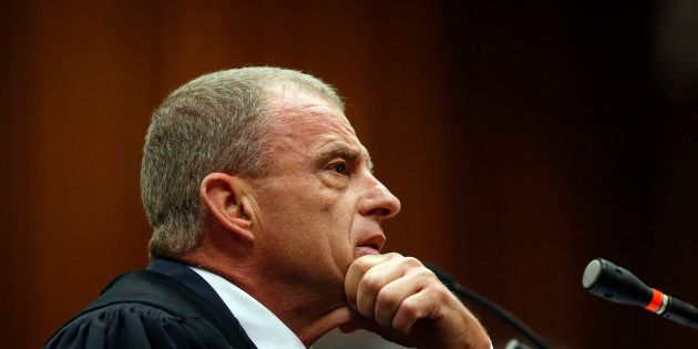 Prosecutor Gerrie Nel questions a witness during the trial of Oscar Pistorius in Pretoria, July 1,