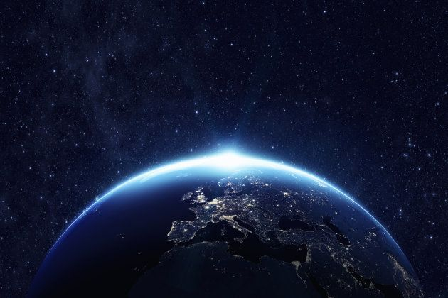 Planet earth from the space at night . Some elements of this image furnished by