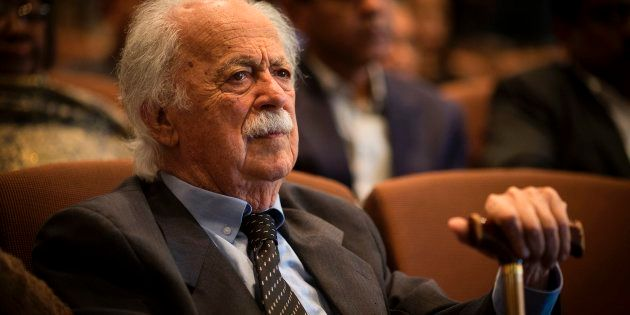George Bizos, anti-apartheid activist and Rivonia treason trial defence lawyer, attends a memorial service...