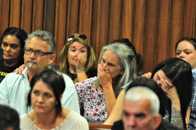 Families and members of the public attend the Christopher Panayiotou murder judgement at the Port Elizabeth...