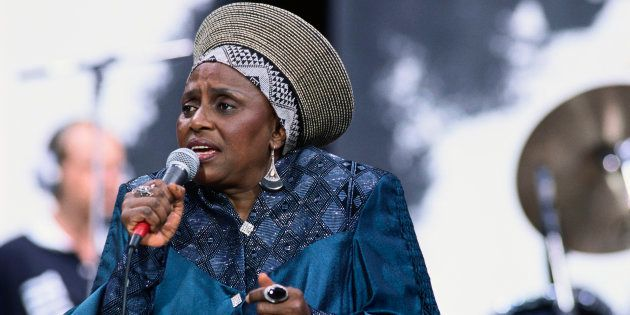The late prominent South African singer Miriam Makeba singing at the Nelson Mandela Freedom Festival...