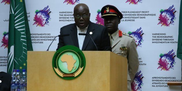 President of Ghana Nana Akufo-Addo delivers a speech during closing ceremony of 28th African Union Summit...