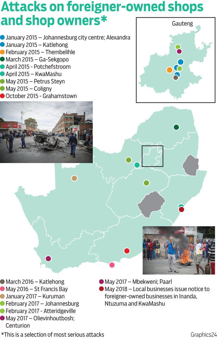 ATTACKS ON FOREIGNER-OWNED SHOPS IN SOUTH