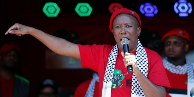 Julius Malema addresses his supporters, outside the Israeli embassy in Pretoria, South Africa, November...