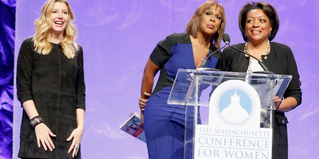 Spanx founder Sara Blakely, Gayle King and WCVB-TV Director of Public Affairs Karen Holmes