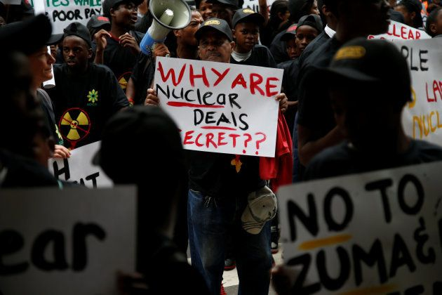 Environmental activists protest against the use of nuclear power in Durban, South Africa, December 14,