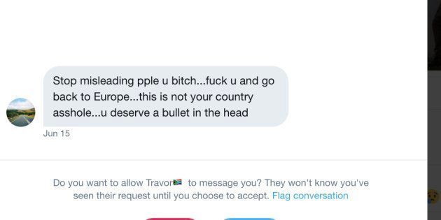 A screenshot of a direct message sent to HuffPost SA editor-at-large Ferial Haffajee on